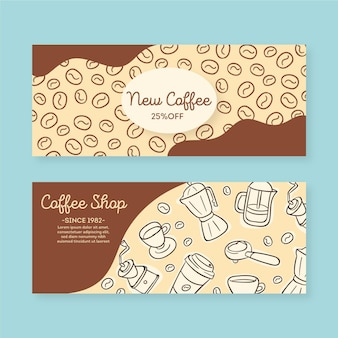 Coffee shop banner set vorlage