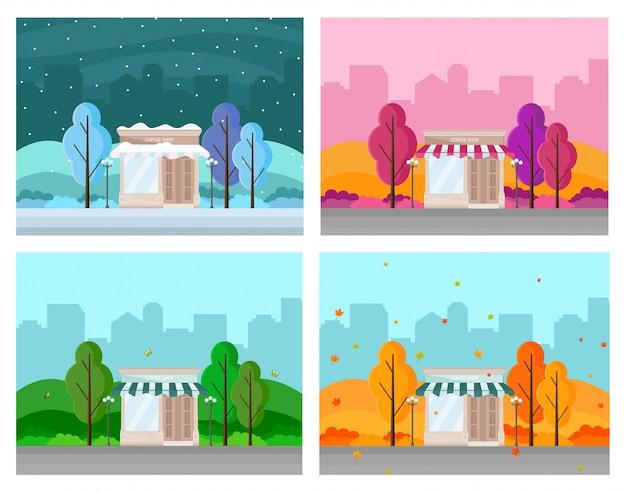 Coffee shop in einer stadt verschiedenen jahreszeiten set sammlung, vektor hintergrund, winter, sommer, herbst, frühling