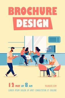 Coffee shop interieur illustration flyer vorlage