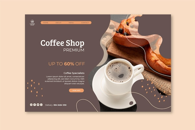 Coffee shop landing page vorlage