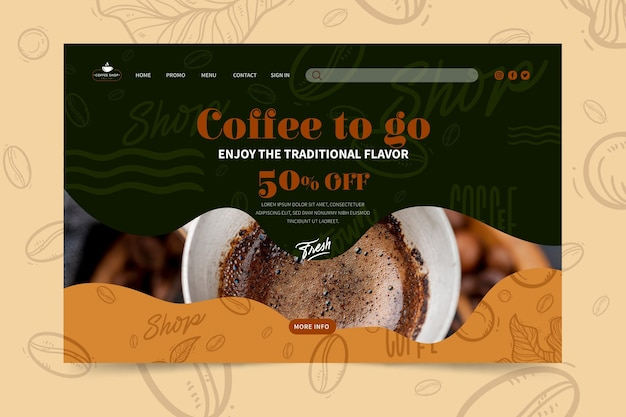 Coffee shop landing page