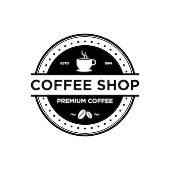 Coffee shop logo design vorlage. retro kaffee