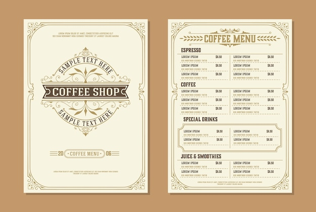 Coffee-shop-logo mit kaffeemenü-broschürenvorlage. vintage typografische dekorationselemente.
