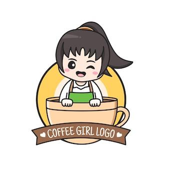 Coffee shop logo mit mädchen in der tasse