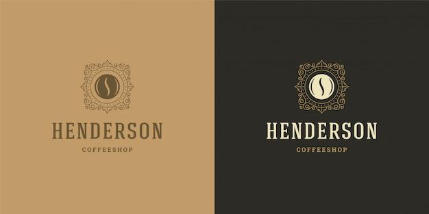 Coffee shop logo vorlage mit bohnen silhouette gut für cafe abzeichen design und menü dekoration