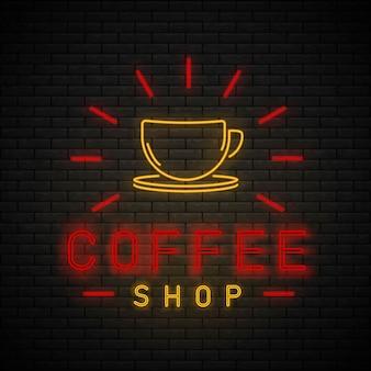 Coffee shop neonlicht. caféleuchtreklame auf backsteinmauer.