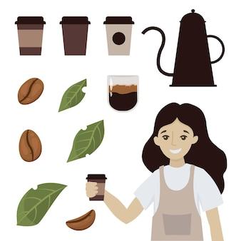 Coffee shop tassen bohnen und blätter kaffee cartoon lächelnde frau kellnerin charakter halten kaffee cappuccino oder latte illustration