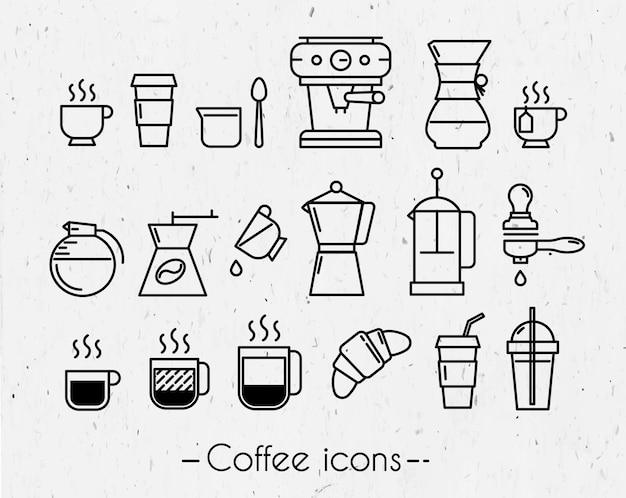 Coffeee-tasse, coe ikonenausführungslinien im minimalistic artsymbolkaffee, französische presse