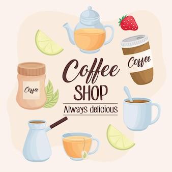 Coffeeshop-beschriftungsikonen herum