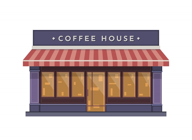 Coffeeshop-gebäude-illustration in der flachen art
