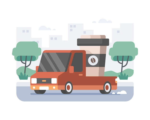 Coffeeshop-geschäftslieferwagen, der eine tasse heißes kaffeesymbol unter verwendung des roten pickup-transportwagens mit stadtbildlandschaftssilhouettehintergrund lädt