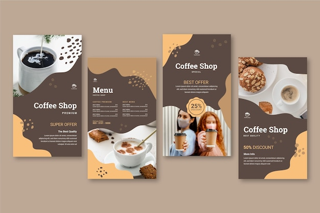 Coffeeshop instagram geschichten sammlung