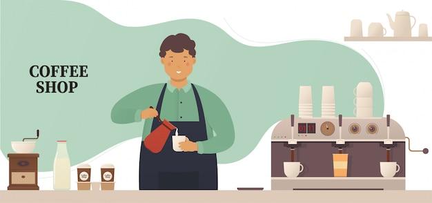 Coffeeshop, junger barista an der bar macht ein heißes getränk, kaffee.