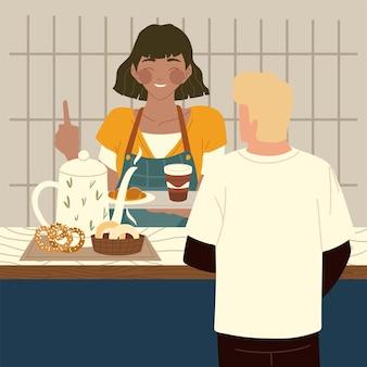 Coffeeshop-kellnerin-mitarbeiter, der kundenillustration dient