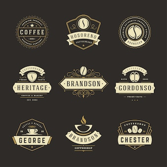 Coffeeshop-logos designvorlagen set illustration
