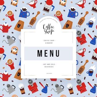 Coffeeshop-menüabdeckung, vorlage mit abbildungen von coffeeshop-utensilien