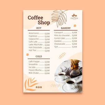 Coffeeshop-menüvorlage Kostenlosen Vektoren