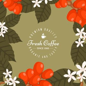 Coffeeshop-plakat, bannerillustration. morgen frisch und lecker. bio- und premium-kaffeebohnen. ikone der tasse mit heißem kaffeegetränk. kaffeepflanzen.