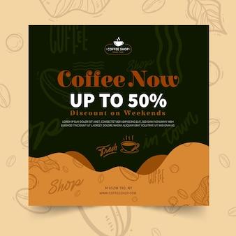 Coffeeshop quadratische flyer vorlage