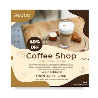 Coffeeshop quadratischer flyer mit rabatt