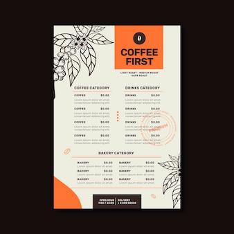 Coffeeshop restaurant menüvorlage