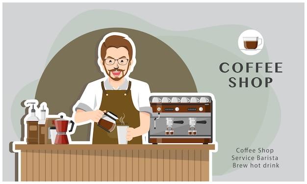 Coffeeshop-service barista brauen heißes getränk illustrationsdesign