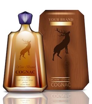 Cognac original flaschenverpackungsdesign. realistisches produkt mit markenweinleselabel. platz für texte