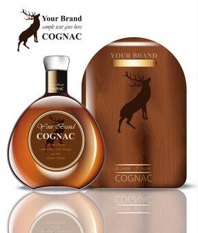 Cognac-verpackungsdesign. realistisches produkt mit markenweinleselabel. platz für texte