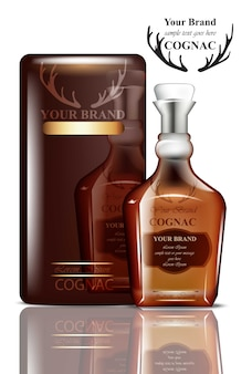Cognac-verpackungsdesign. realistisches produkt mit markenzeichen. platz für texte