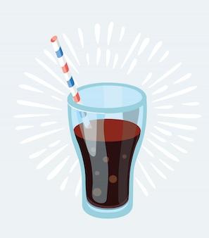 Cola-glas mit eiswürfeln auf blauer fotorealistischer illustration