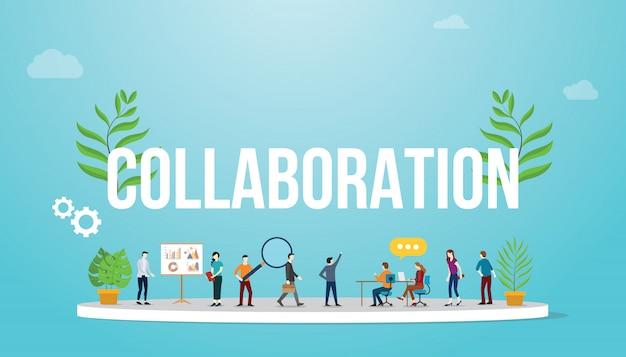 Collaboration-geschäftskonzept mit teamleuten