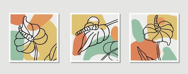 Collage abstrakte organische formen set sammlung zeitgenössischer kunstposter minimale und natürliche wand
