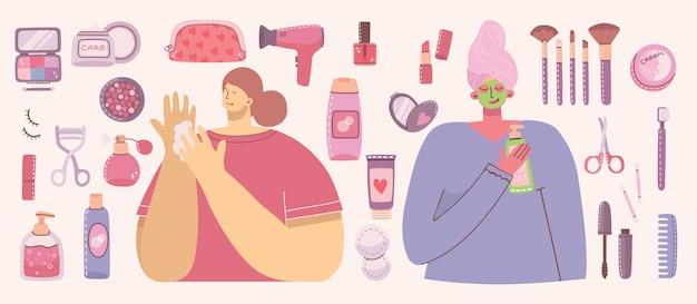 Collage aus kosmetika und körperpflegeprodukten zum schminken von mädchen mit kosmetiktasche.
