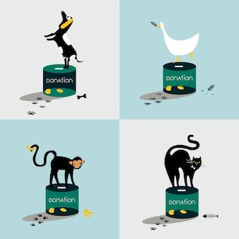 Collage der Tiere, die auf einer Spendenbox stehen
