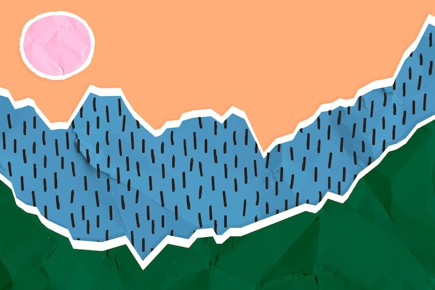 Collage landschaft zerknittertes papier vektor