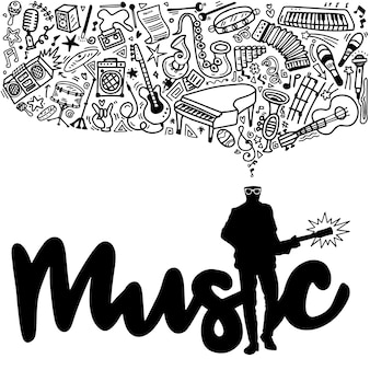 Collage mit musikinstrumenten