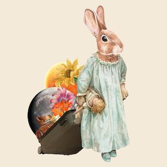 Collage vintage kaninchen illustration vektor, druckbare collage gemischte medienkunst