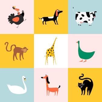 Collage von verschiedenen arten von tieren