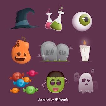Collage von verschiedenen halloween-elementen