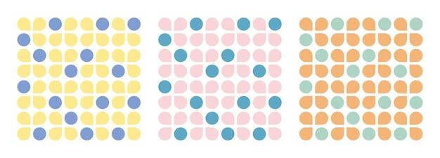 Collage zeitgenössische blumen- und kreisformen nahtlose mustersatz. modernes geometrisches design für papier, cover, stoff, inneneinrichtung und andere benutzer.