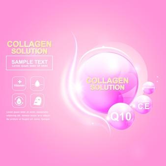 Collagen oder serum pink ball und light effect vector repair skin für hautpflegeprodukte