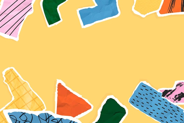 Collagenpapierrandvektor auf gelbem hintergrund