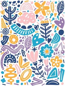 Collagenstil mit abstrakten und organischen formen in pastellfarben