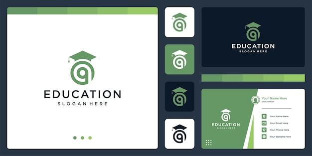 College, absolvent, campus, logo-design für bildung. und logo-anfangsbuchstabe q. visitenkarte