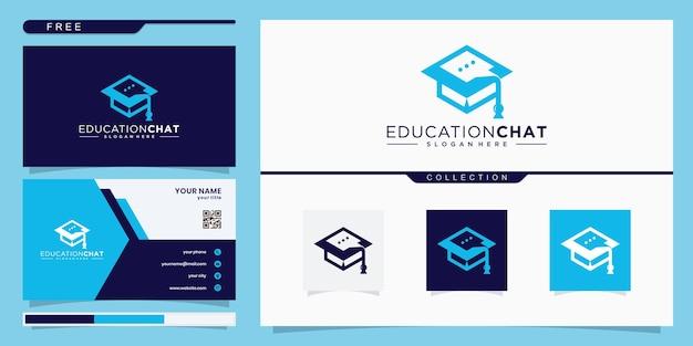 College, absolvent, logo-design für bildung. und chat-logos. visitenkarte