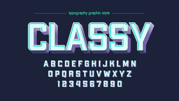 Coloful blue purple uppercase artistic font