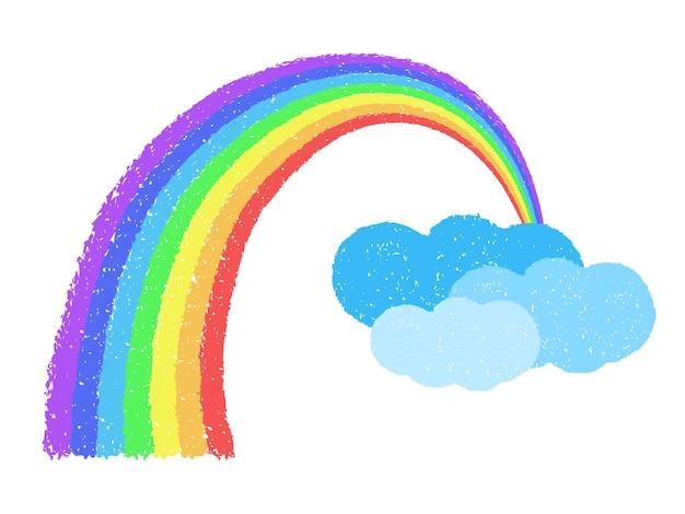 Coloful regenbogen mit wolken im hintergrund. handgezeichnet mit ölpastellkreiden. grunge-grafik-design-element. wetter-konzept. vektorillustration