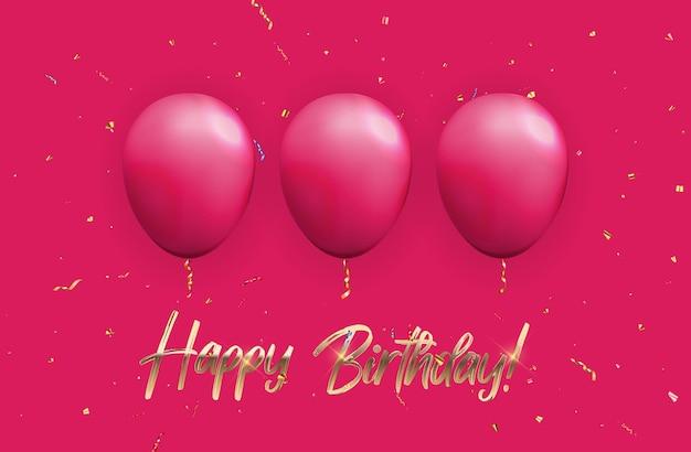 Color glossy happy birthday ballons