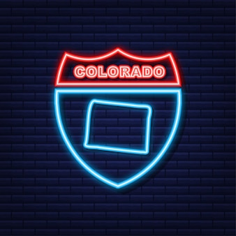 Colorado state map umriss neonsymbol. vektor-illustration.