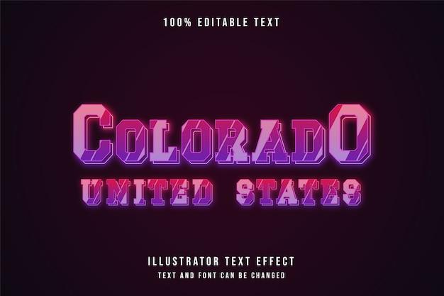 Colorado vereinigte staaten, bearbeitbarer texteffekt rosa abstufung neoneffekt
